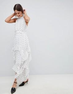 Платье макси в горошек с высоким воротом и оборками ASOS DESIGN - Мульти