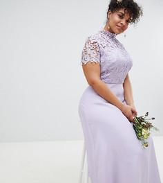 Платье макси 2 в 1 с кружевом Chi Chi London Plus - Серый