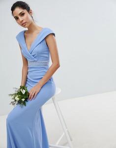Платье макси с широким вырезом и отделкой на талии TFNC Bridesmaid - Синий