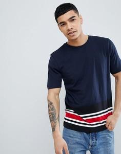 Темно-синяя футболка с полосками Tommy Hilfiger - Темно-синий
