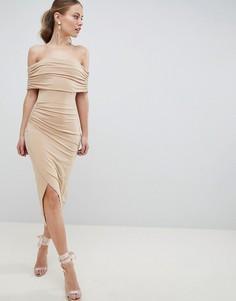 Платье миди с открытыми плечами ASOS DESIGN - Розовый