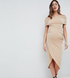 Платье миди с открытыми плечами ASOS DESIGN Maternity - Розовый