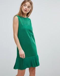 Платье в рубчик с оборкой Angel Eye - Зеленый