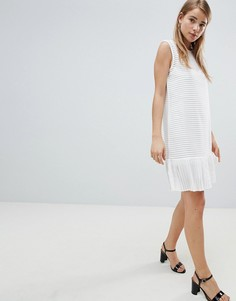Платье в рубчик с оборкой Angel Eye - Белый