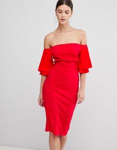 Платье с широким вырезом и короткими рукавами Vesper - Красный