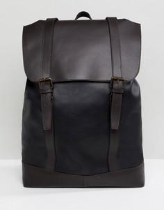 Черный кожаный рюкзак с двумя ремешками ASOS DESIGN - Черный