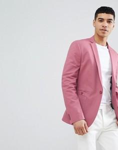 Розовый хлопковй облегающий блейзер ASOS DESIGN - Розовый