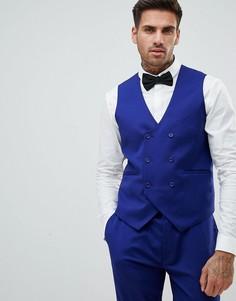 Ярко-синий приталенный жилет ASOS WEDDING - Синий