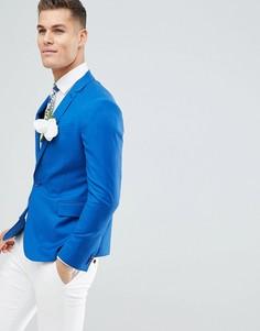 Ярко-синий приталенный блейзер из 100% шерсти ASOS DESIGN Wedding - Синий