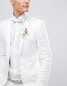 Приталенный блейзер с вышивкой ASOS DESIGN Wedding - Белый