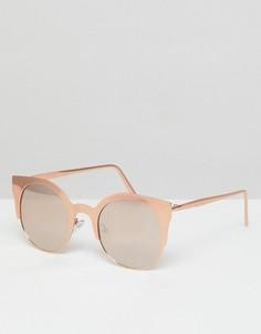 Солнцезащитные очки кошачий глаз с зеркальными стеклами в металлической оправе ASOS - Золотой