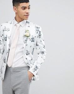 Белый блейзер суперузкого кроя с цветочным принтом ASOS DESIGN Wedding - Белый
