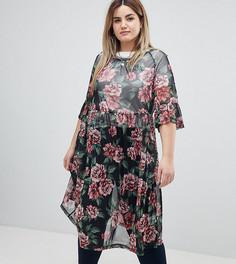 Сетчатое платье миди с цветочным принтом Zizzi - Черный