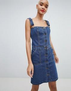 Джинсовое платье мини на пуговицах Liquor N Poker - Синий