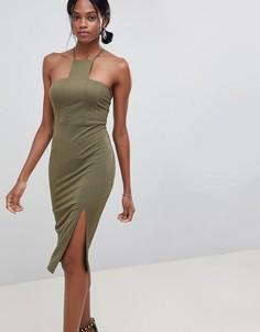 Платье миди с квадратным вырезом ASOS DESIGN - Зеленый