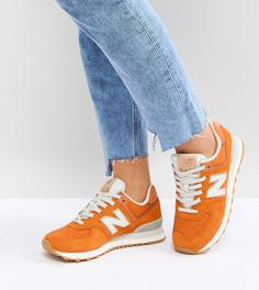 Оранжевые замшевые кроссовки New Balance 574 - Оранжевый