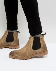 Светло-бежевые замшевые ботинки челси Base London Turret - Светло-бежевый