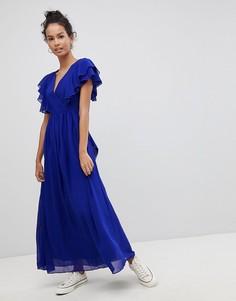 Платье макси с оборками Glamorous - Синий