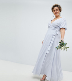 Платье макси с запахом и пышными рукавами TFNC Plus - Серый
