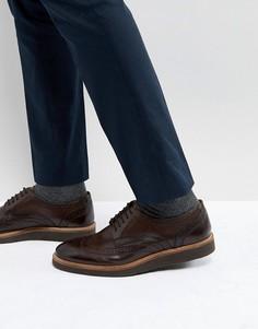 Блестящие коричневые броги Base London Orion - Коричневый