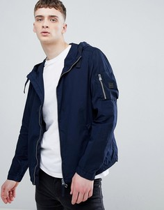 Темно-синяя куртка на молнии с капюшоном BOSS - Темно-синий