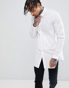 Длинная рубашка классического кроя с боковыми вставками ASOS DESIGN - Белый