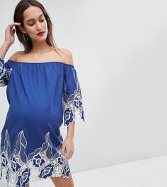 Платье мини с открытыми плечами и контрастным цветочным кружевом Glamorous - Синий