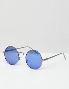 Круглые солнцезащитные очки с синими зеркальными стеклами ASOS DESIGN - Серебряный