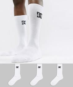 3 пары белых носков с логотипом DC Shoes - Белый