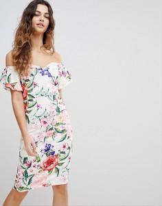 Платье-футляр с открытыми плечами, оборками на рукавах и цветочным принтом Paper Dolls - Мульти