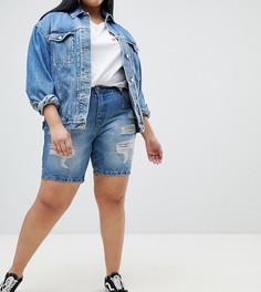 Джинсовые шорты с потертостями Zizzi - Синий