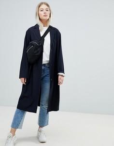 Легкое пальто в клетку Weekday - Темно-синий