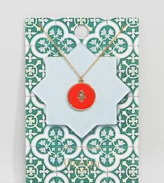 Позолоченное ожерелье с эмалированной хамсой Orelia - Красный
