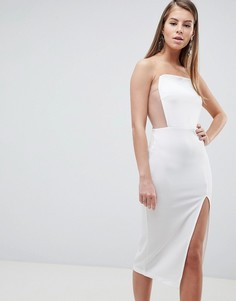 Платье миди с квадратным вырезом и сетчатой отделкой ASOS DESIGN - Белый