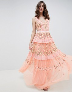 Платье макси с вышивкой Needle & Thread - Оранжевый