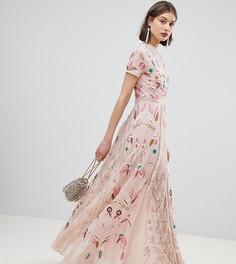 Платье макси с глубоким вырезом и сплошной вышивкой Frock and Frill - Кремовый