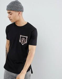 Черная удлиненная футболка с карманом boohooMAN - Черный