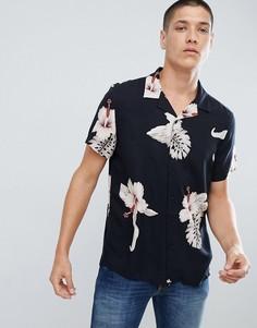 Черная рубашка классического кроя с принтом листьев New Look - Черный