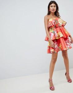 Структурированное ярусное платье мини с ярким цветочным принтом ASOS DESIGN - Мульти