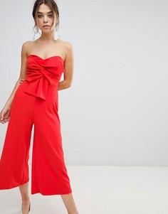 Комбинезон с открытыми плечами и бантом New Look - Красный