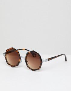 Восьмигранные солнцезащитные очки AJ Morgan - Коричневый