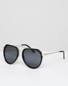 Солнцезащитные очки-авиаторы с планкой над переносицей AJ Morgan - Черный