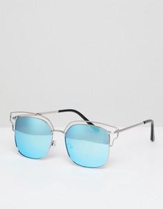 Солнцезащитные очки-авиаторы с зеркальными стеклами AJ Morgan - Серебряный