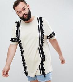 Серовато-бежевая удлиненная свободная футболка с отделкой кисточками ASOS DESIGN Plus - Белый