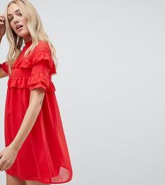 Свободное платье с оборками Influence Tall - Красный