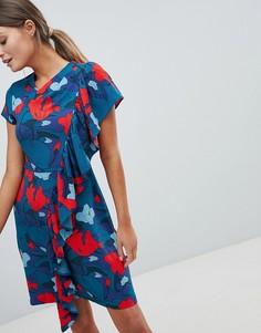 Платье с принтом и оборками Closet - Мульти