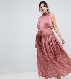 Платье макси с кружевной плиссированной юбкой и высоким воротом Little Mistress Plus - Розовый