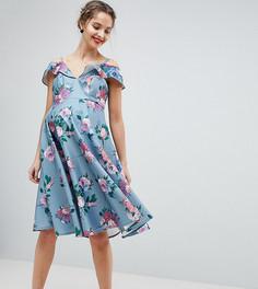 Платье миди с открытыми плечами и принтом Chi Chi London Maternity - Мульти