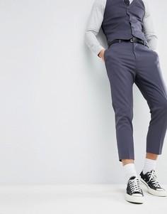 Синие зауженные брюки ASOS WEDDING - Синий