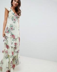 Платье макси с цветочным принтом и ярусными оборками ASOS DESIGN - Мульти